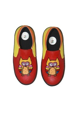 Hand Painted Red Owl Shoes For Kids