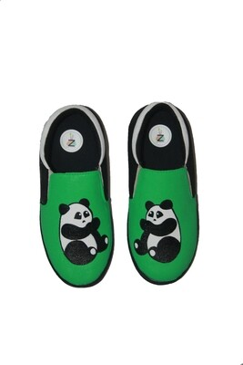 Hand Painted Green Panda Shoes For Kids