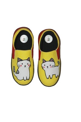 Hand Painted White Cat Shoes For Kids