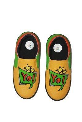 Hand Painted Yellow Yo Shoes For Kids