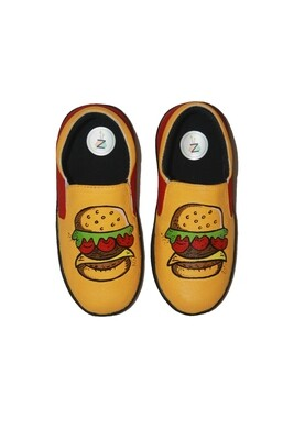 Hand Painted Yellow Burger Shoes For Kids