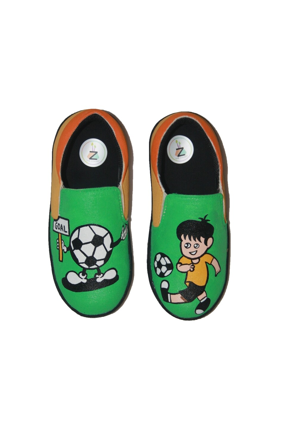 Hand Painted Green Football Shoes For Kids
