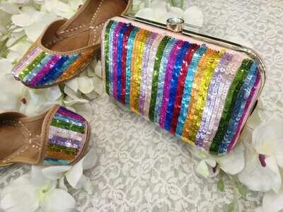 Hand Crafted Multicolored Sequin Embroidery Mojaris
