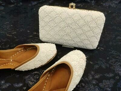 Hand Crafted White Embroidery Mojaris