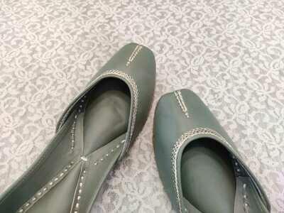 Hand Crafted Plain Grey Stitched  Mojaris