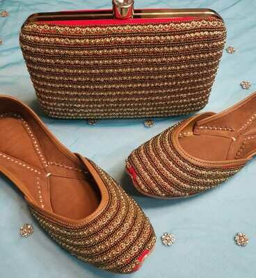 Hand Crafted Embroidered Red and Golden work