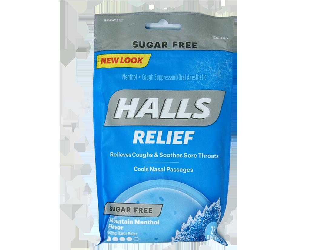 Pastillas para la Tos Halls Relief Sugar Free