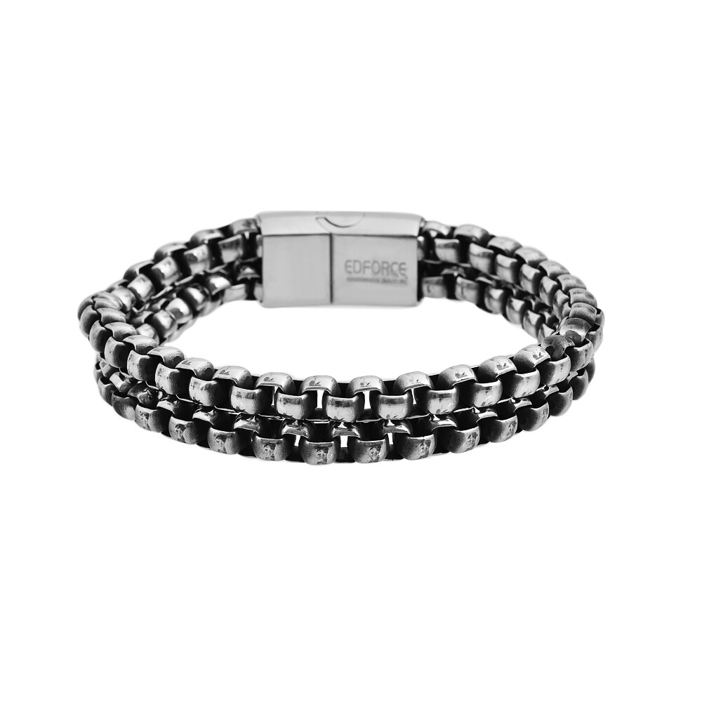 Brazalete Stainless Steel Plata  Doble