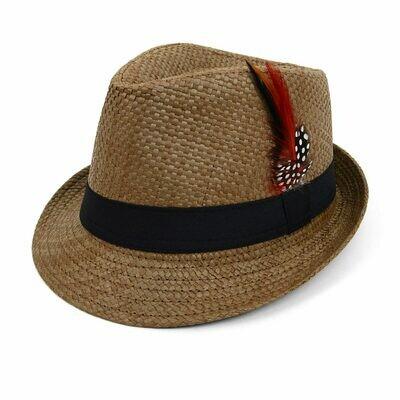 Sombrero Color Natural con Cinta Negra y Pluma