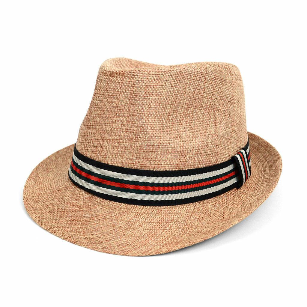 Sombrero Color Natural con Cinta Negra y Roja
