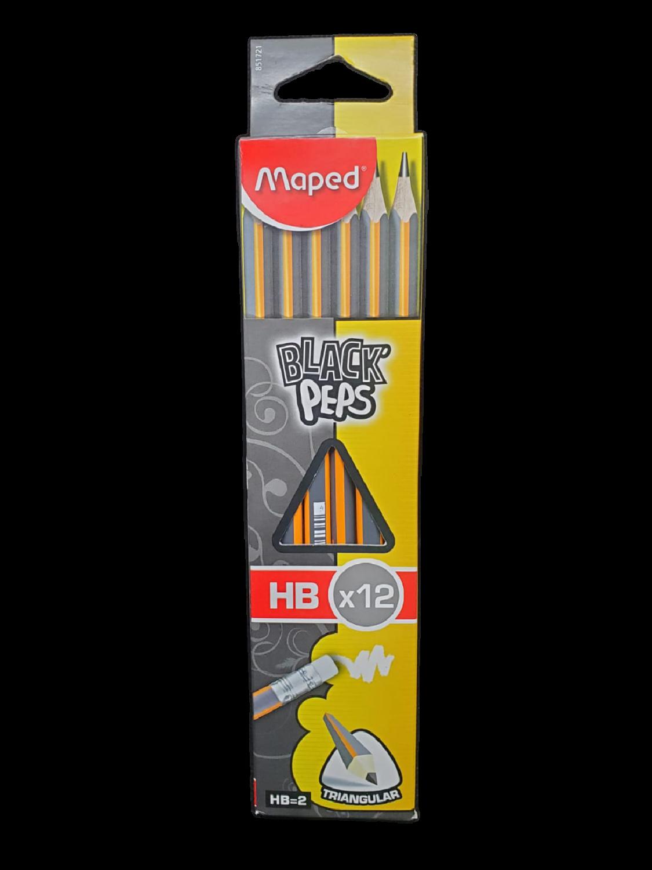 Lápices Madera Triangular HB Black Peps