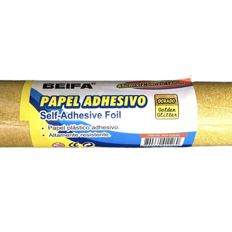 Papel Adhesivo Dorado Escarchado