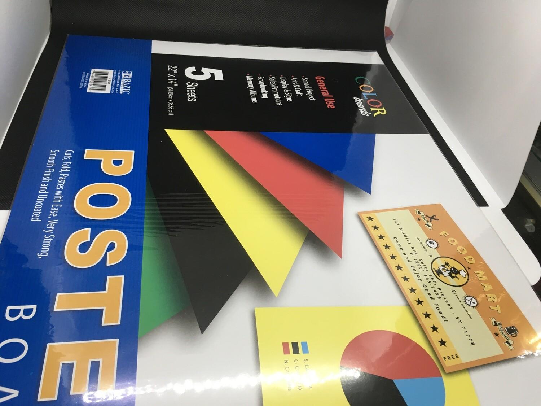 "Poster Board  Colores 22"" x 14"""