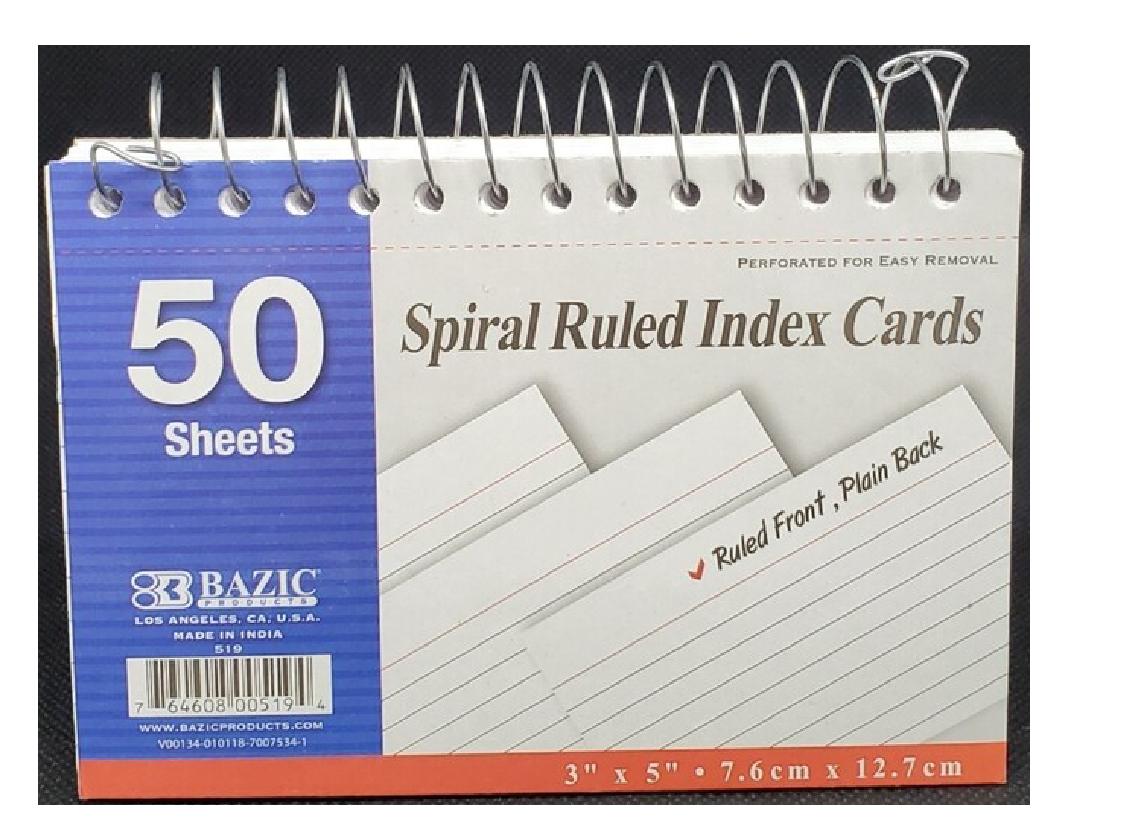 "Index Cards  Espiral 3""x 5"""