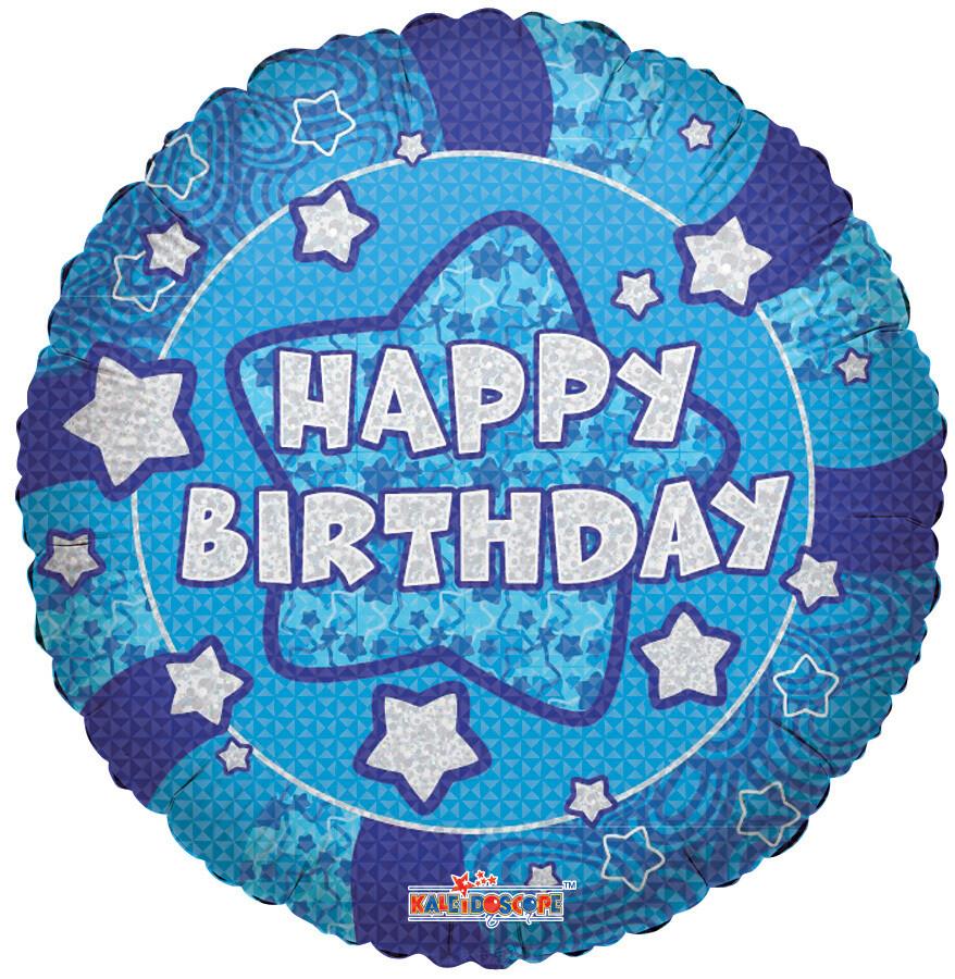 Globo  Holographic Blue Happy Birthday