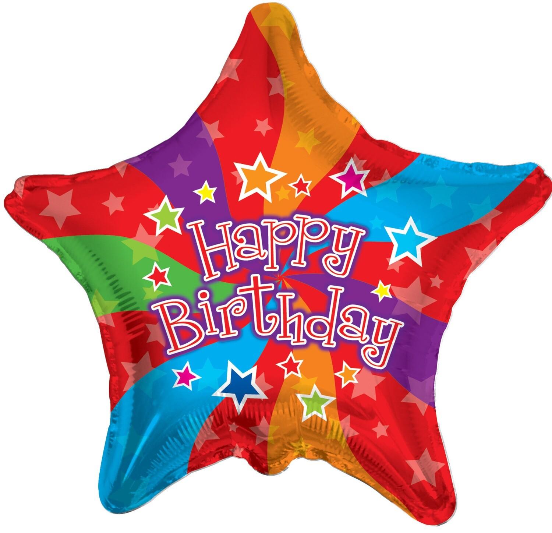 Globo Happy Birthday Colors Star
