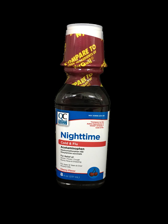 QC Nighttime Cold & Flu sabor a cherry