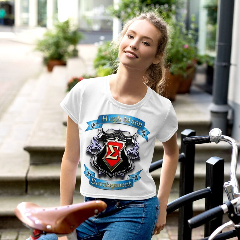 Hugh Mann Development Signature Collection All-Over Print Crop T-Shirt by Evolved Attitude