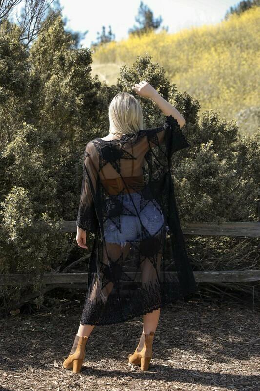 black mesh kimono