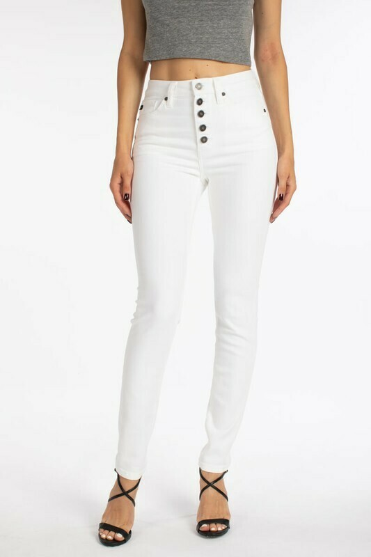 Button Fly White Jeans