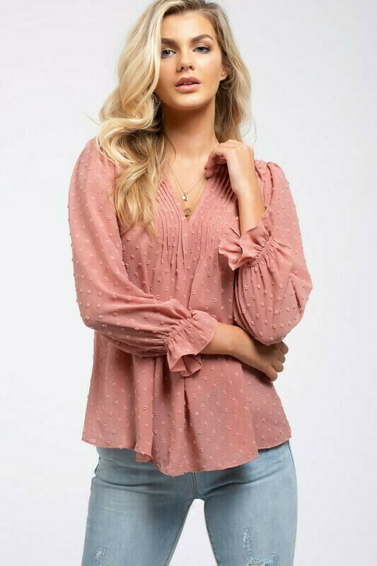 Long Sleeve Mauve Blouse