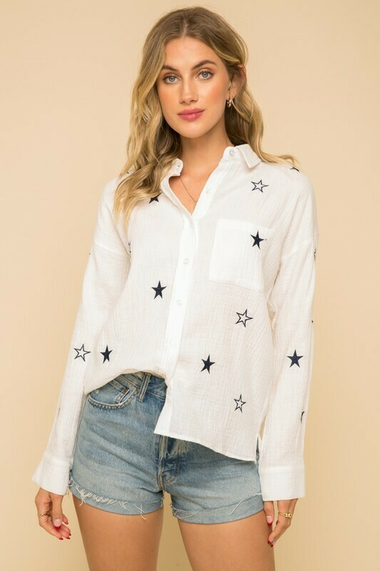 Blue Star Button Up