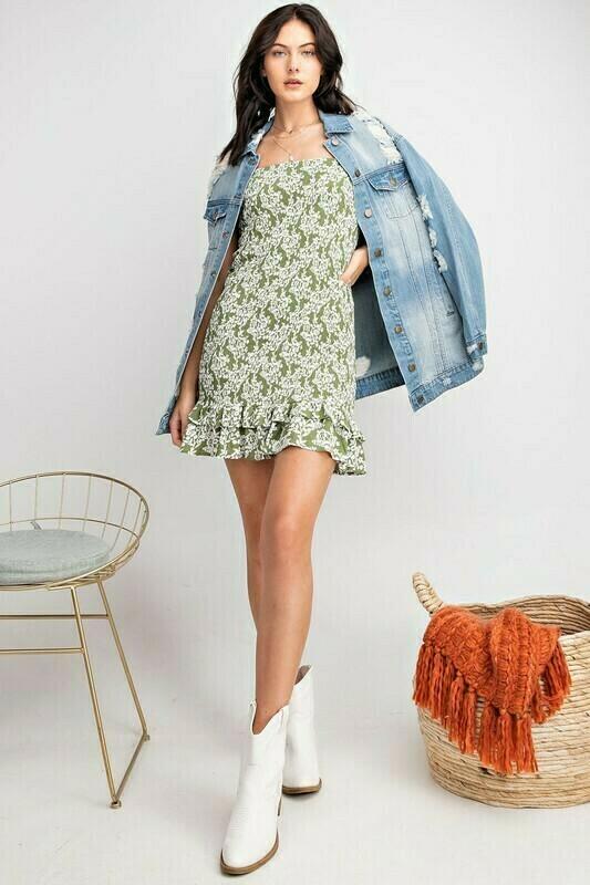 Smocked Olive Dress