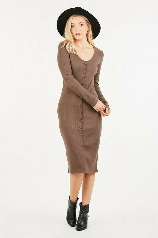Mocha Henley Dress