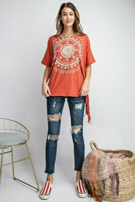 Rust Fringe Graphic Tee