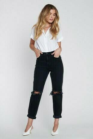 Mom Jeans- Black