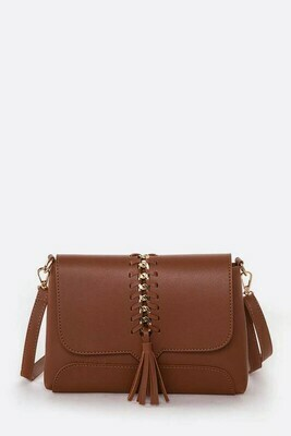 Tan Braided Crossbody
