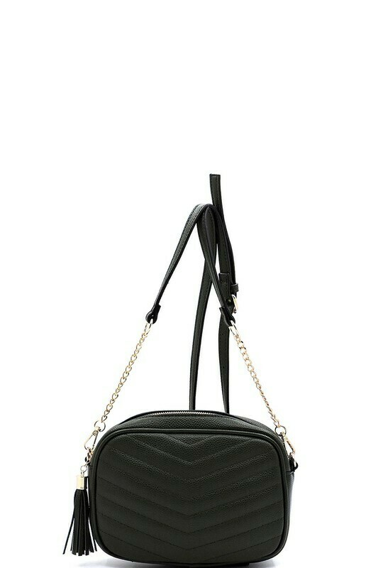 quilted crossbody- black