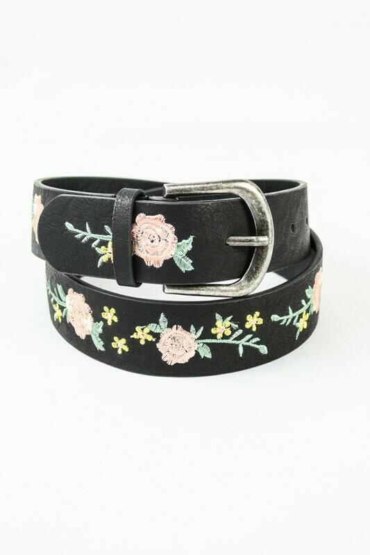 Embroidered floral belt