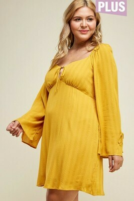 mustard empire dress
