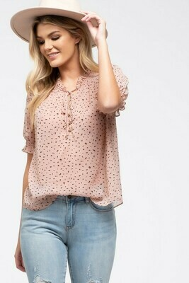 Speckled Tie-Neck Top