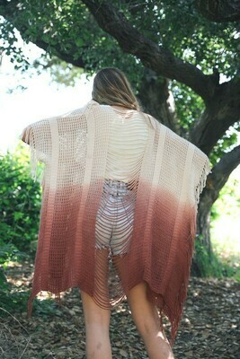 Berry Fringe Kimono