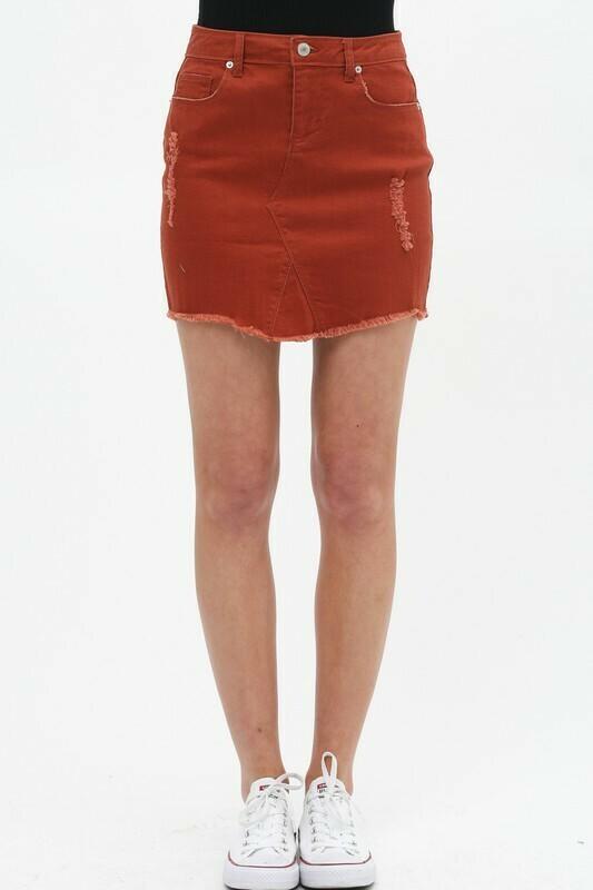 Rust Denim Skirt