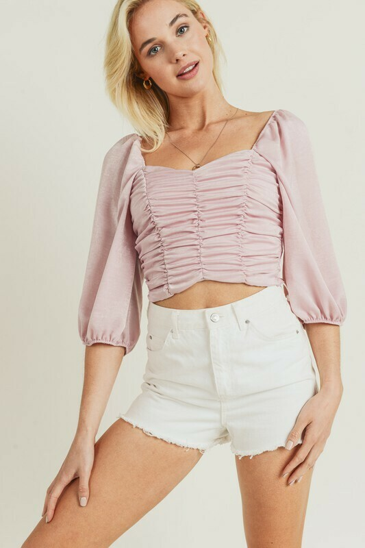 Pink Ruched Blouse