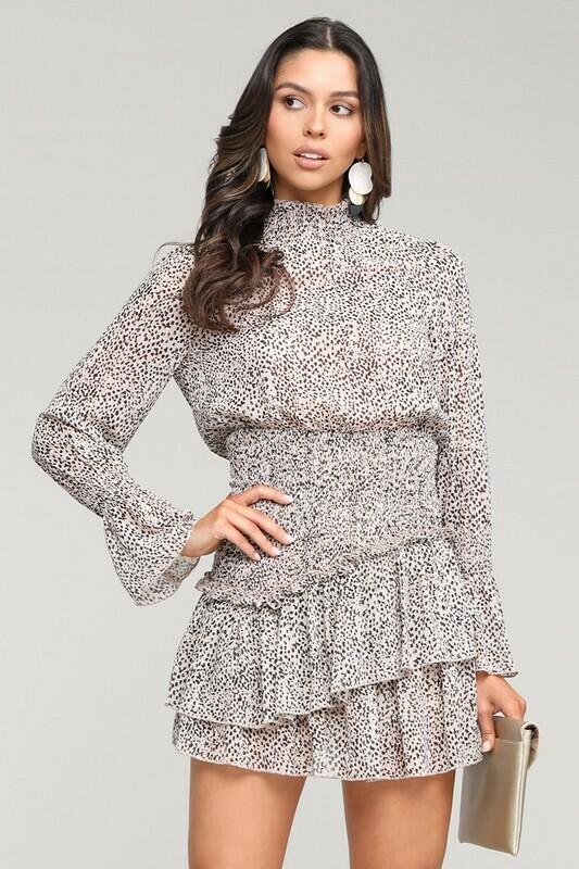 Smocked Leopard Dress