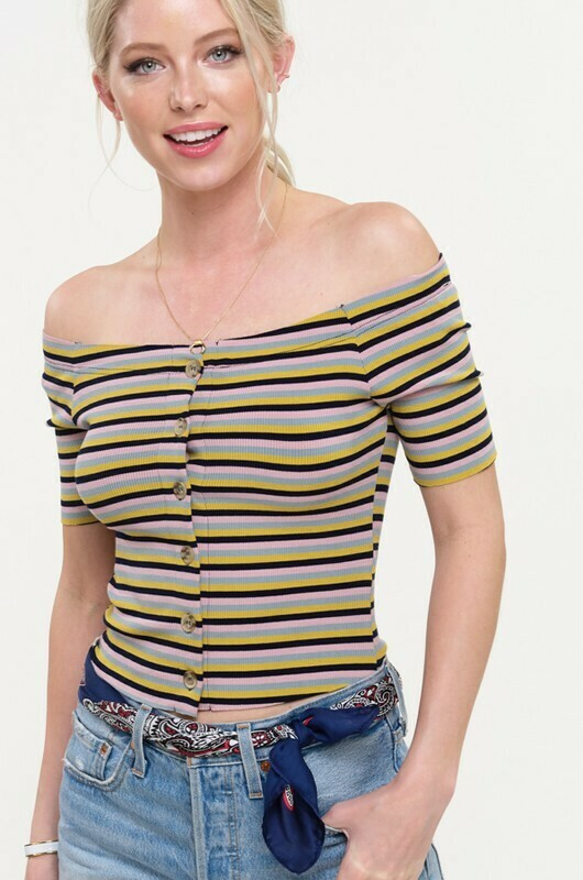 Striped Knit Crop