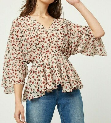Taupe Floral Blouse