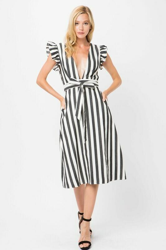 Black + White Midi Dress