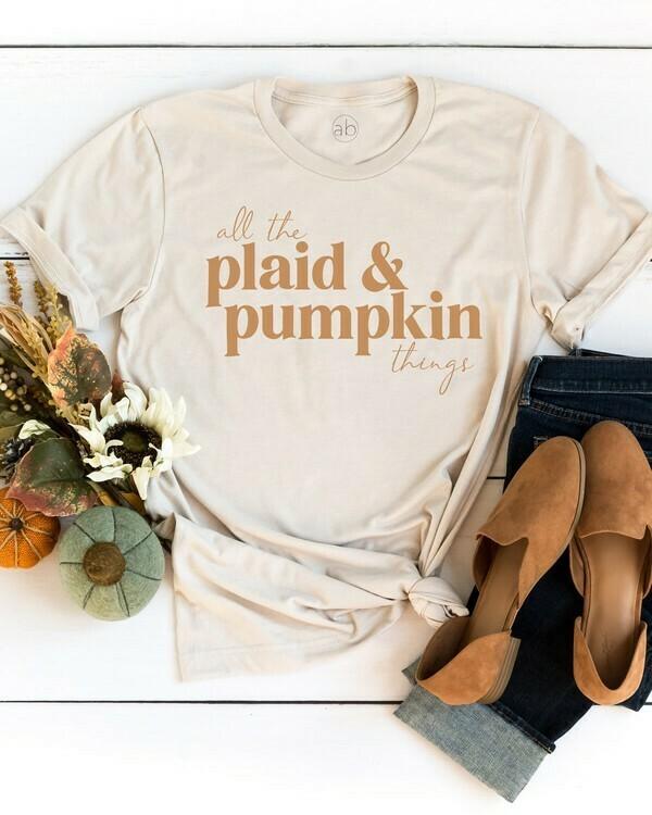 Plaid + Pumpkin Tee