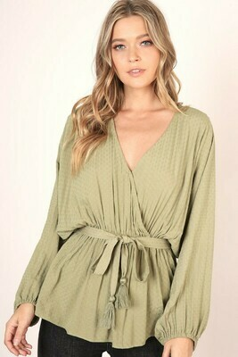 Olive Tie Blouse