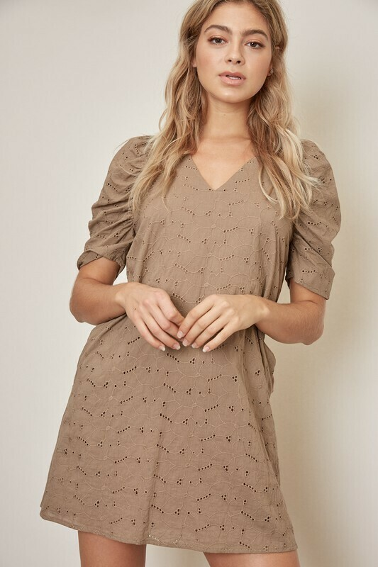 Eyelet Taupe Dress