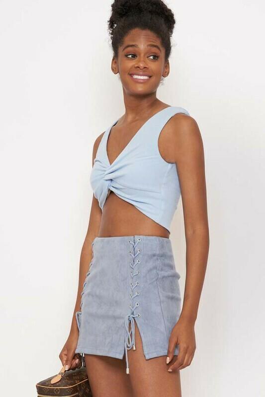 Blue Suede Skirt