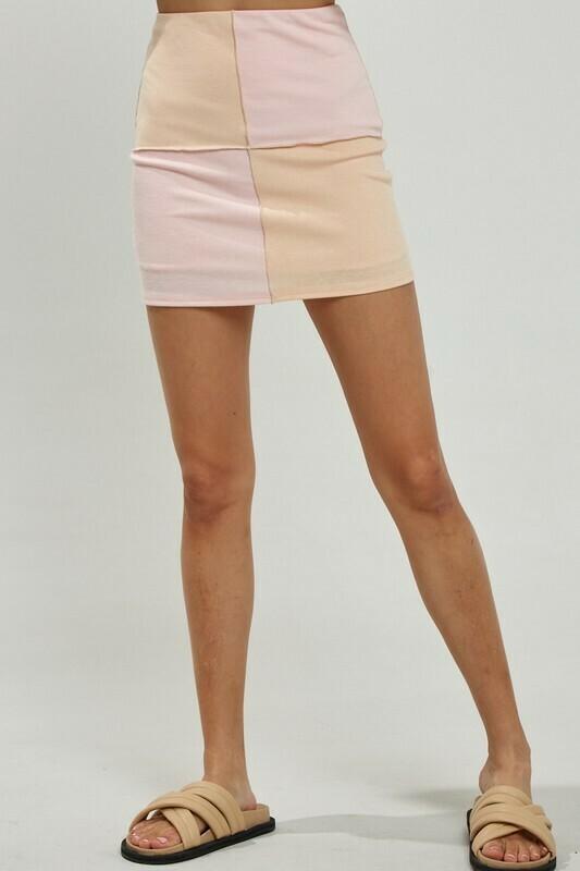 Peach Color Block Skirt