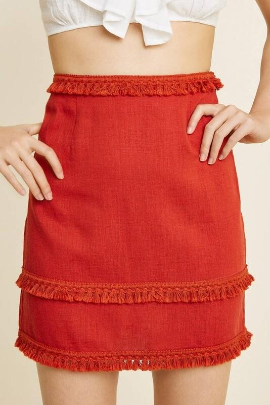 Chili Linen Skirt