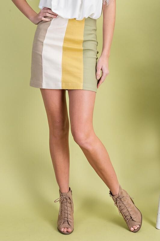 Fall Color Block Skirt