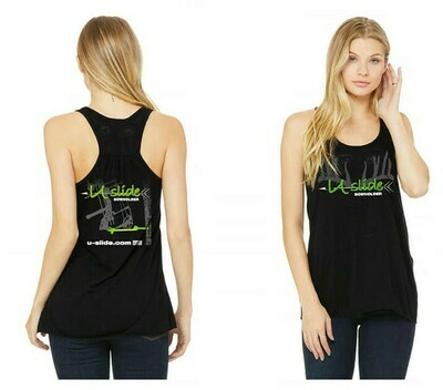 Ladies Racerback Tank - Neon Green Logo